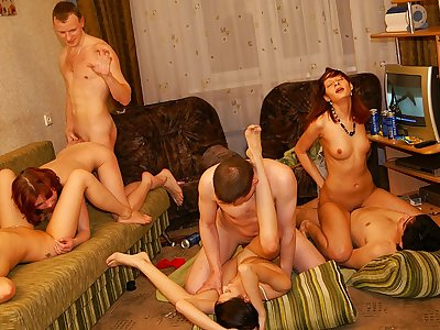 Super-sexy and torrid college girl soiree fuck-fest vid